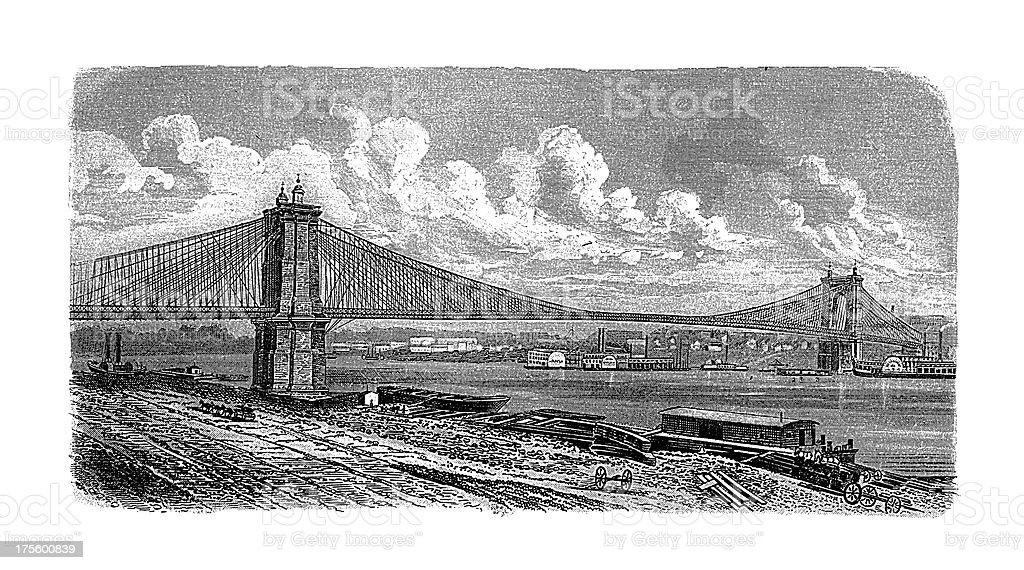 Roebling Suspension Bridge, Cincinnati, USA | Antique Architectural Illustrations royalty-free stock vector art