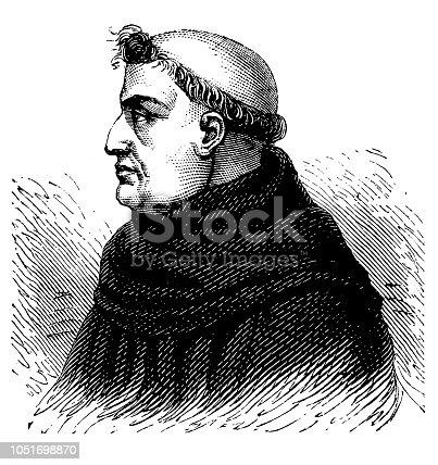 Illustration of a Roger Bacon (c.1214-c.1292), English philosopher