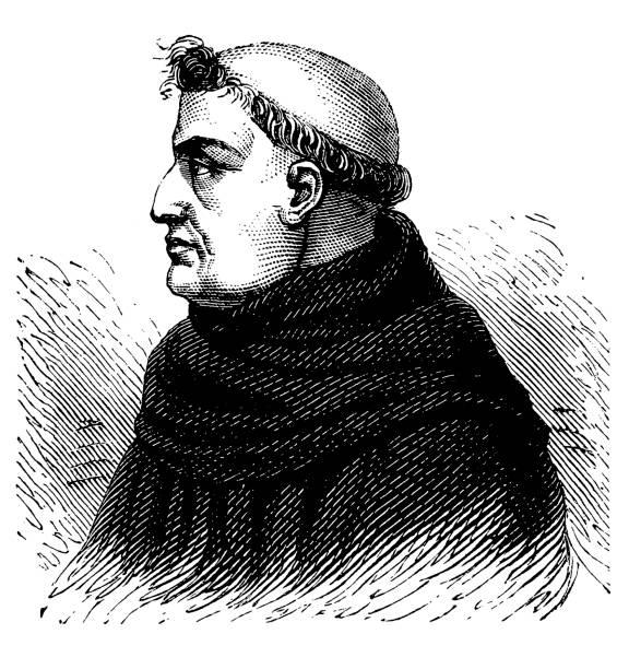 ilustraciones, imágenes clip art, dibujos animados e iconos de stock de roger bacon (c.1214-c.1292), filósofo inglés - hermano