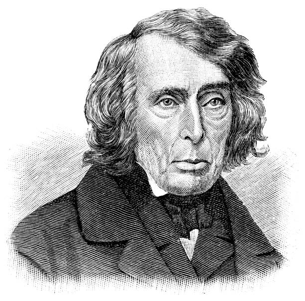 Roger Brooke Taney Engraving from 1886 showing Roger Brooke Taney who was the Chief Justice of the Supreme Court from 1836 until 1864. chief justice stock illustrations