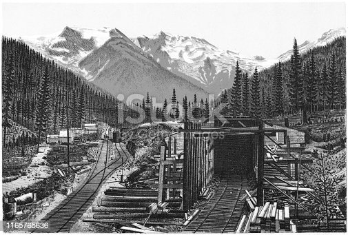 Rogers Pass in the Canadian Rockies of British Columbia, Canada. Vintage etching circa late 19th century.