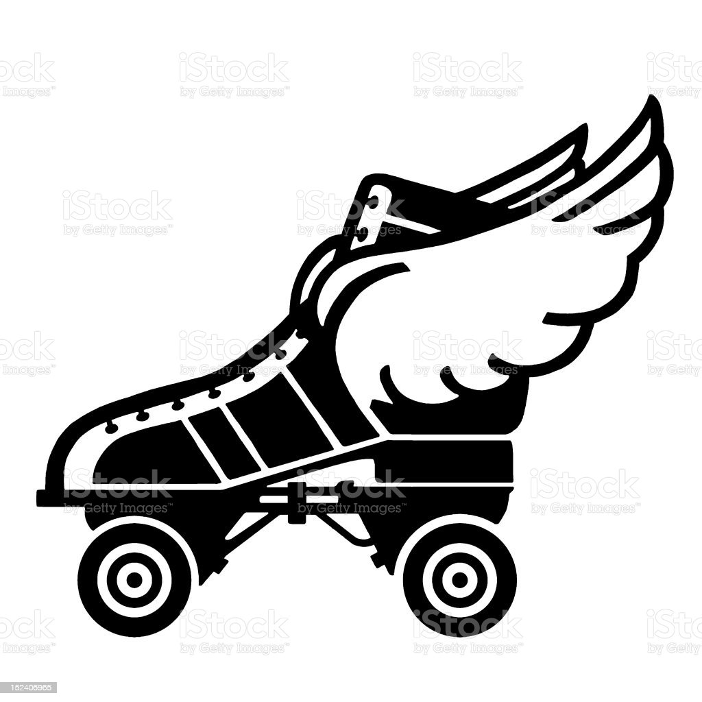 Roller Skate With Wings vector art illustration