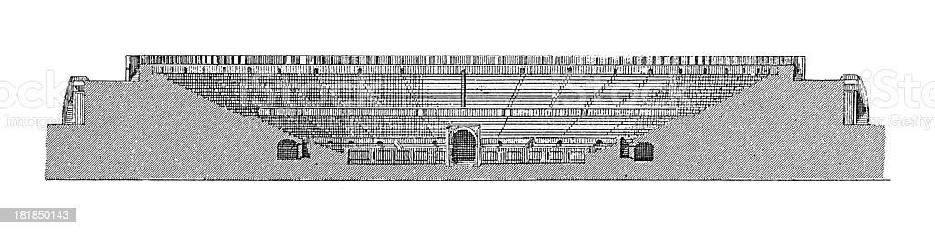Roman amphitheatre in Pompeii (antique wood engraving) vector art illustration