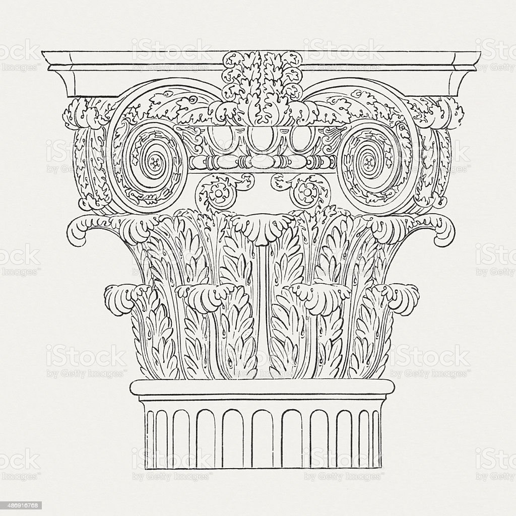 Roman capital, published in 1878 vector art illustration