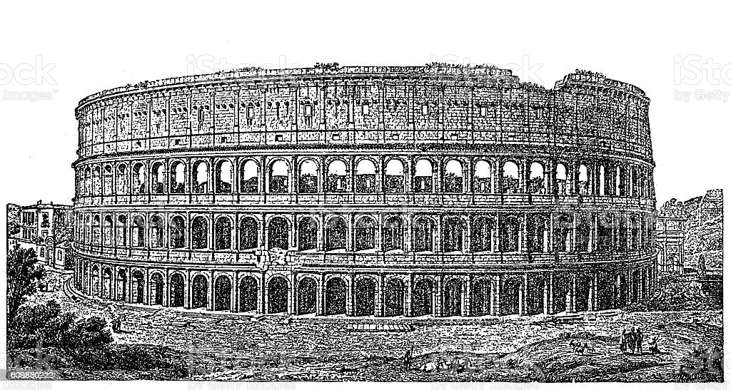 Roman Colosseum vector art illustration