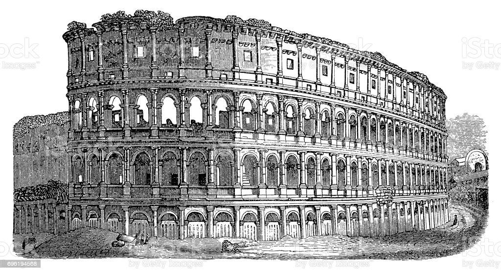 Roman Colosseum vector art illustration