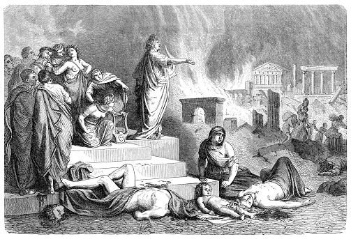 Roman emperor Nero burning Rome illustration 1880