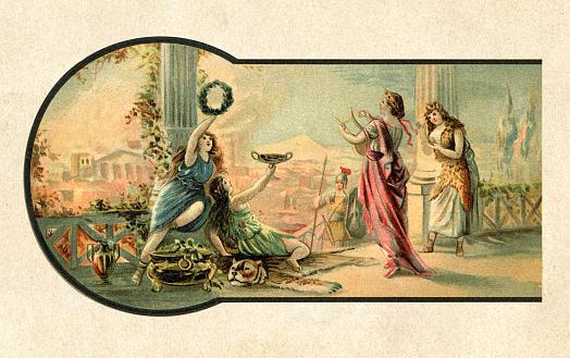 Roman emperor Nero singing while Rome is burning 64 AD