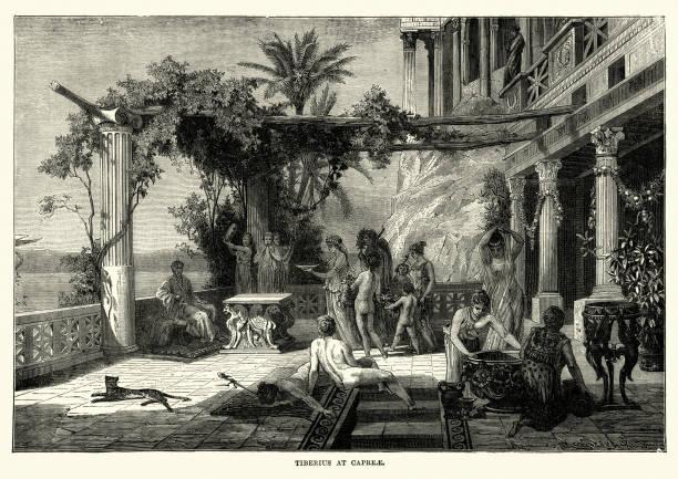 illustrazioni stock, clip art, cartoni animati e icone di tendenza di roman emperor tiberius at capri, - capri