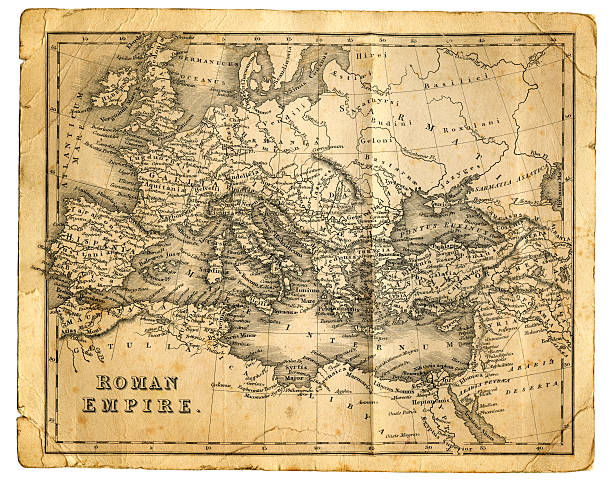 """Roman Empire """"Very detailed vintage map from 1827, showing the Roman Empire at its greatest extent.  Photo by D Walker"""" ancient rome stock illustrations"""