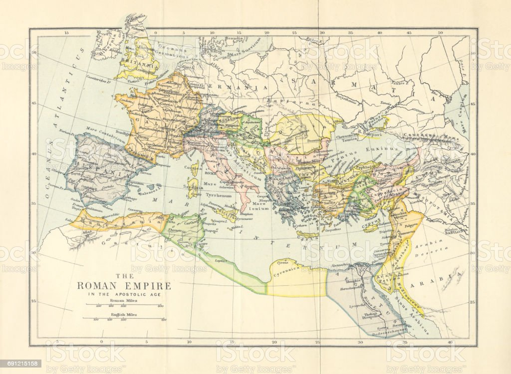 Roman Empire in the Apostolic Age Map, Engraving, 1892 vector art illustration