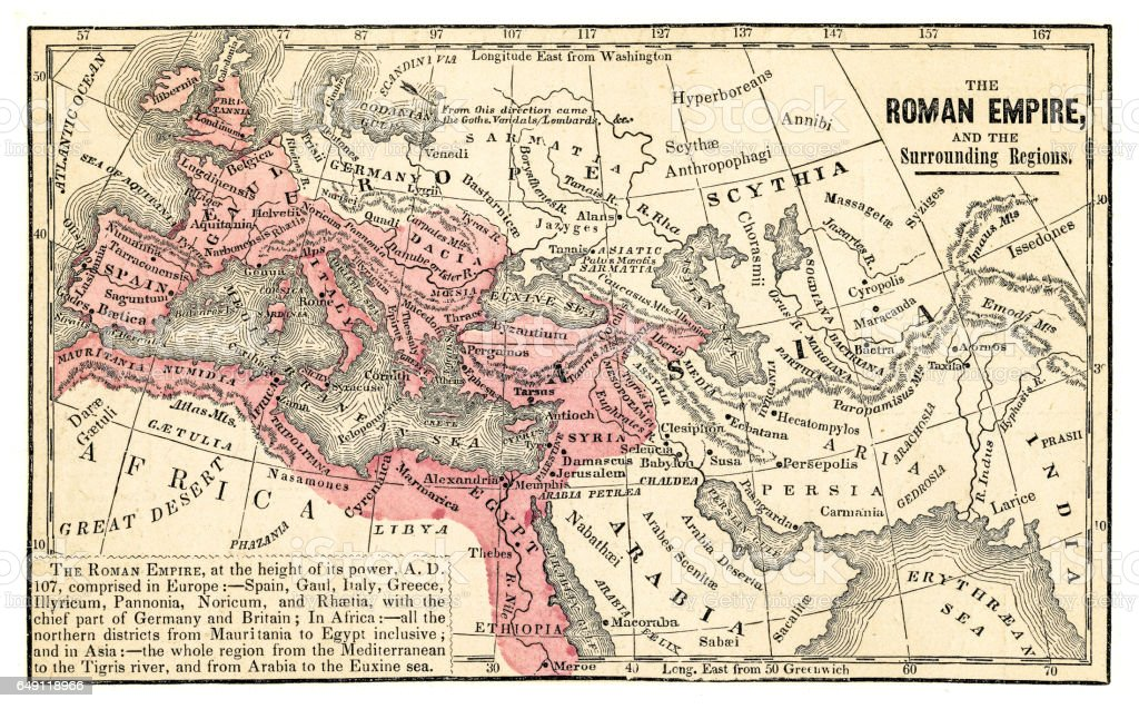 Roman empire map 1875 vector art illustration