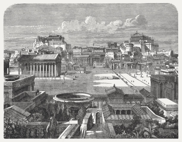 Roman Forum and Capitoline in the ancient Rome, published 1886 View of the Capitoline and Forum in ancient Rome, visual reconstruction. Wood engraving, published in 1886. ancient rome stock illustrations