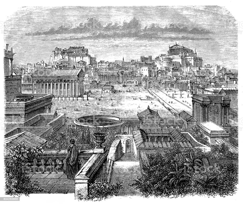 Roman Forum, visual reconstruction vector art illustration