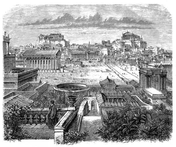Roman Forum, visual reconstruction Illustration of a Roman Forum, visual reconstruction ancient rome stock illustrations