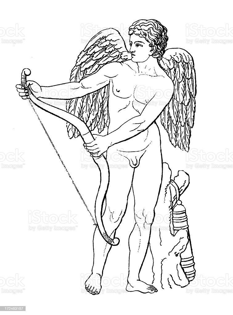 Roman God Cupid | Antique Historic Illustrations royalty-free stock vector art