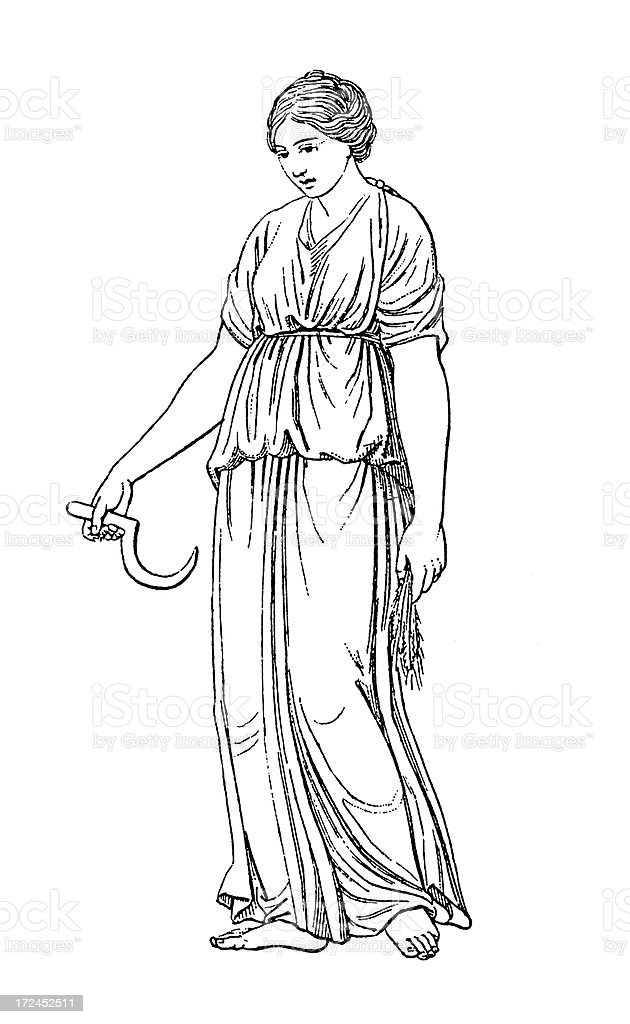 Roman Goddess Ceres | Antique Historic Illustrations royalty-free stock vector art