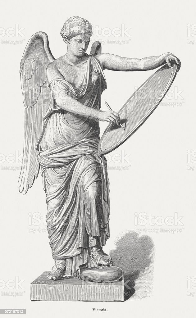 Roman goddess Victoria, 1st century, published in 1884 vector art illustration