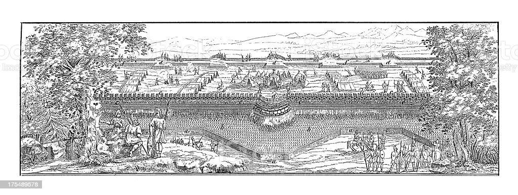 Roman Military Camp | Antique Architectural Illustrations vector art illustration