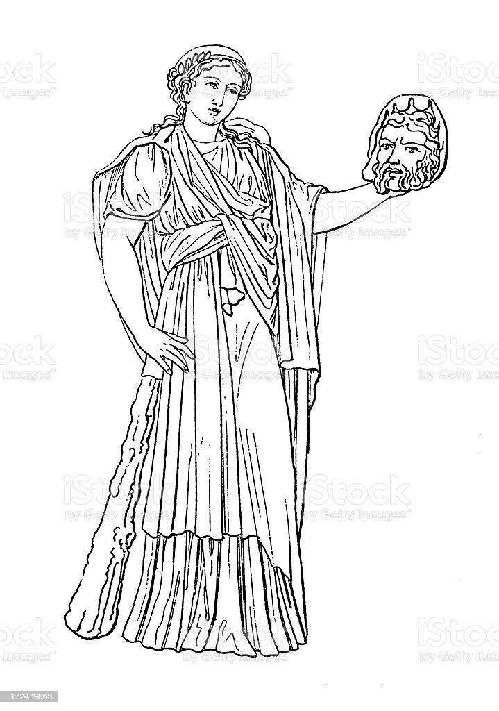 Roman Muse  Melpomene   Antique Historic Illustrations royalty-free roman muse melpomene antique historic illustrations stock vector art & more images of 19th century
