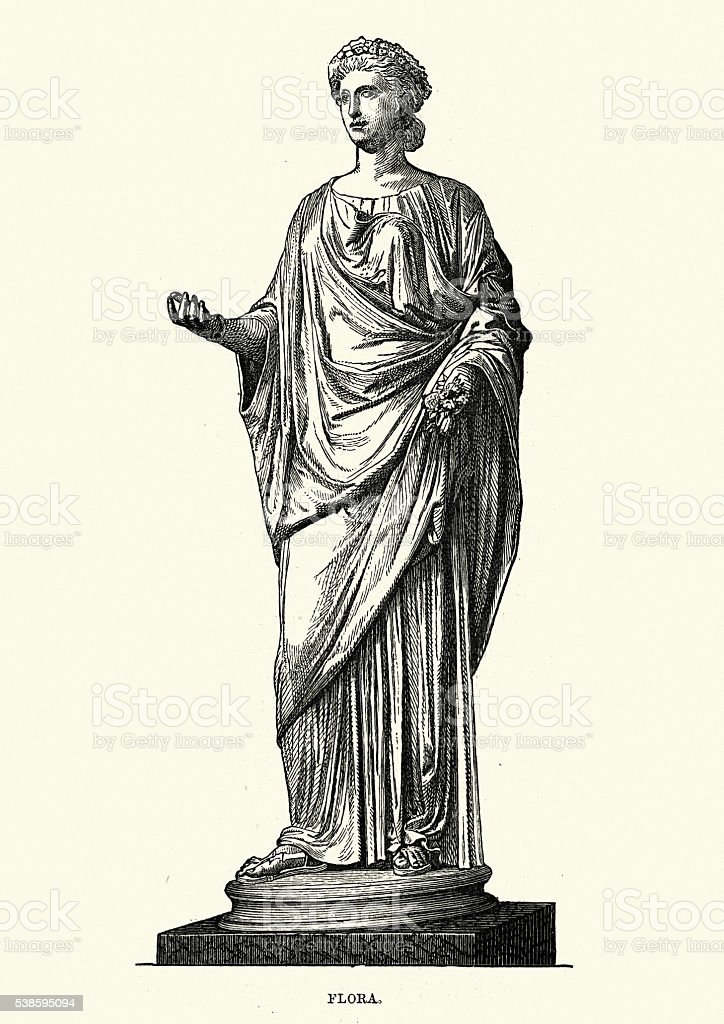 Roman mythology - Flora Goddess of flowers vector art illustration