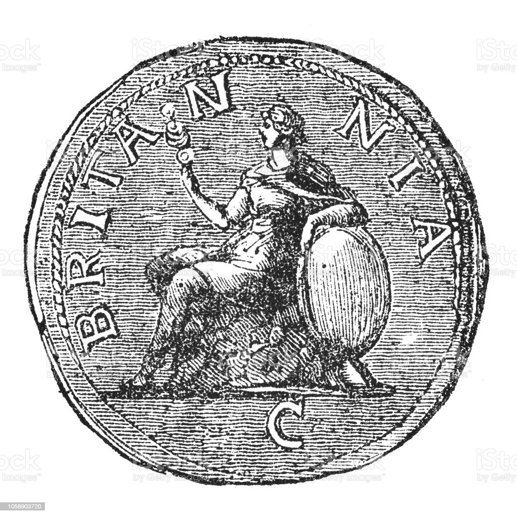 Roman Silver Sestertius Coin of Hadrian, First Britanna (2nd Century) vector art illustration