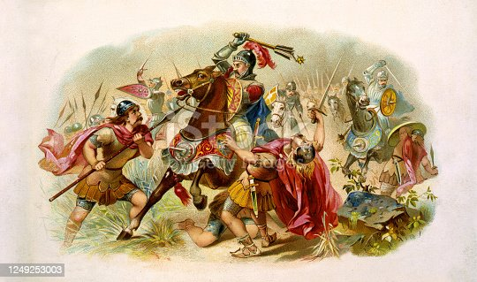 Vintage illustration features Roman soldiers in battle with the Teutonic Tribes during the Roman-Germanic wars.