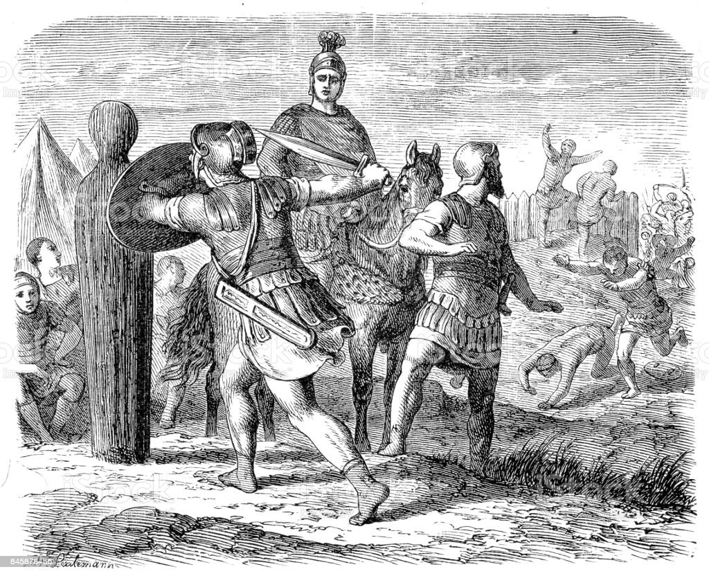 Roman soldiers getting ready for battle vector art illustration