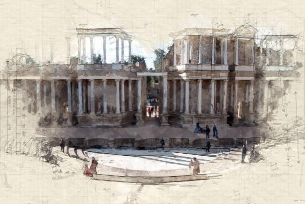 Roman theater Illustration of Roman theater ruins in Merida, Spain ancient rome stock illustrations