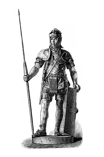 Roman warrior with pilum, sword, dagger and down shield