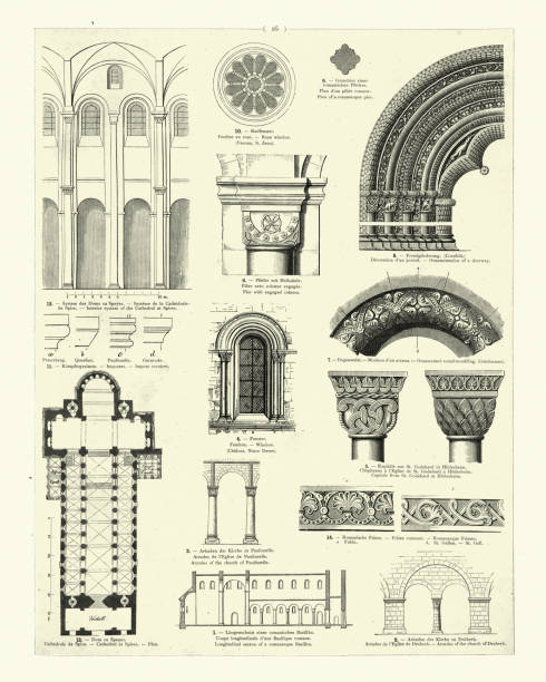 Romanesque architecture, Rose window, Arches, Mouldings Vintage engraving of examples of Romanesque architecture, Rose window, Arches, Mouldings. Romanesque architecture is an architectural style of medieval Europe characterized by semi-circular arches. romanesque stock illustrations