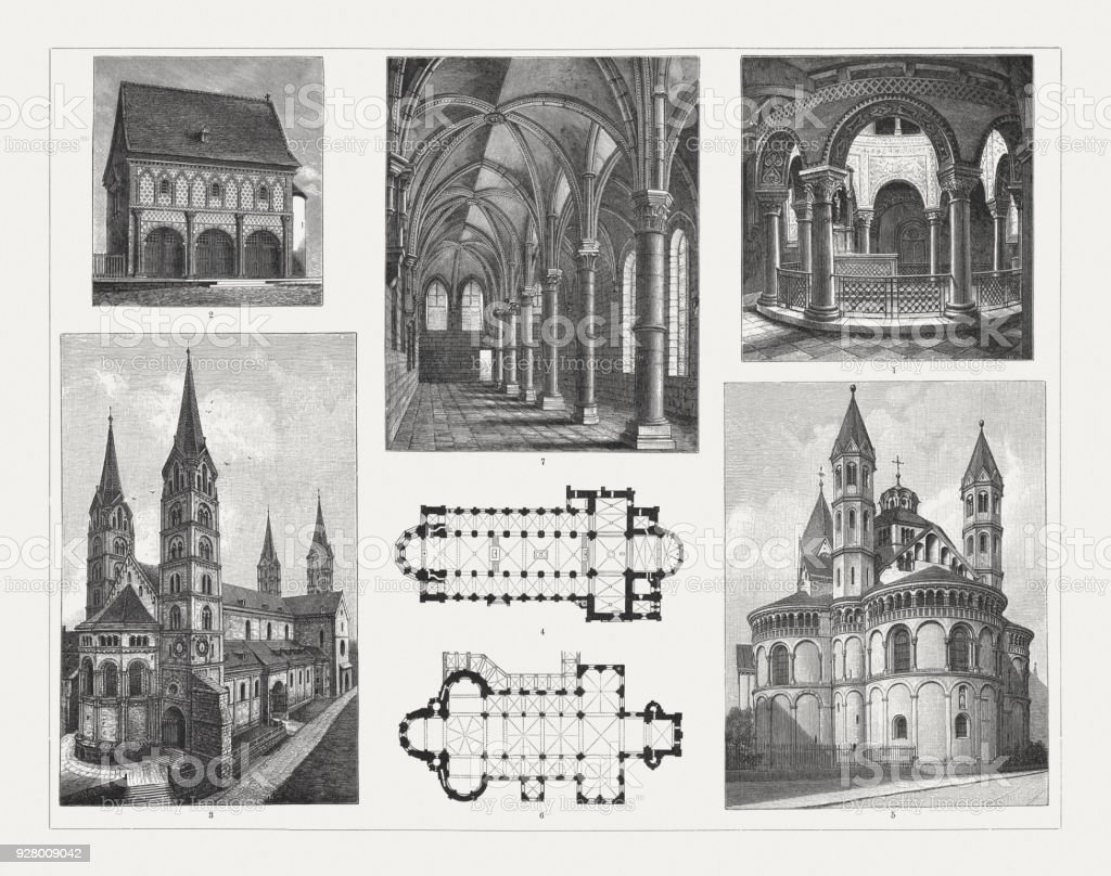 Romanesque architecture (Germany), wood engravings, published in 1897 vector art illustration