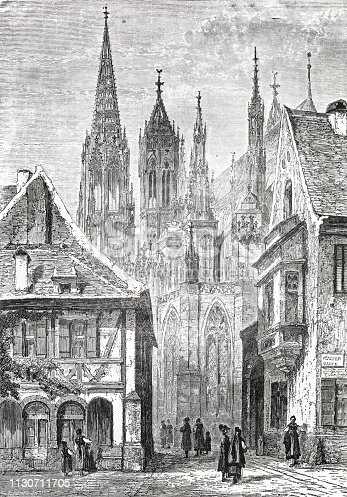 Freiburg Minster in the 19th century from the 1873 book 'the Earth and her People