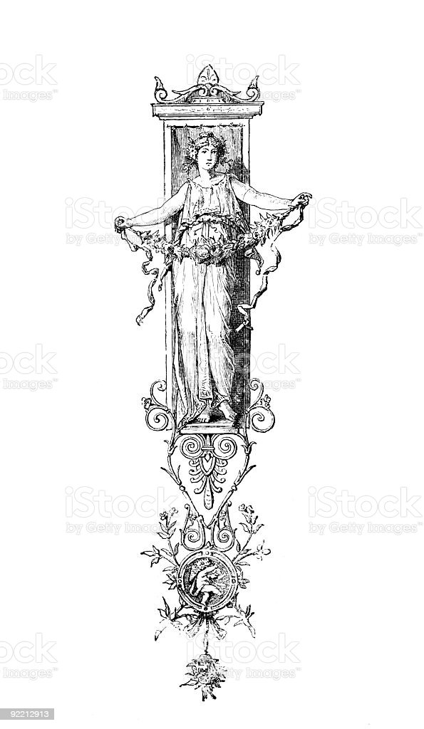 Romanesque Neoclassical design depicting a Roman flower girl royalty-free stock vector art