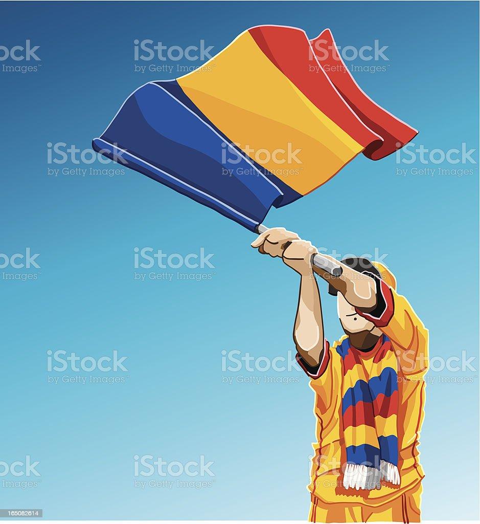 Romania Waving Flag Soccer Fan royalty-free stock vector art