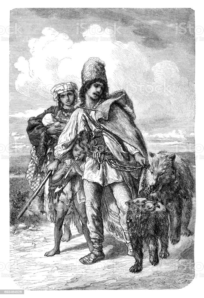 Romanian bear tamer in traditional clothes 1876 vector art illustration