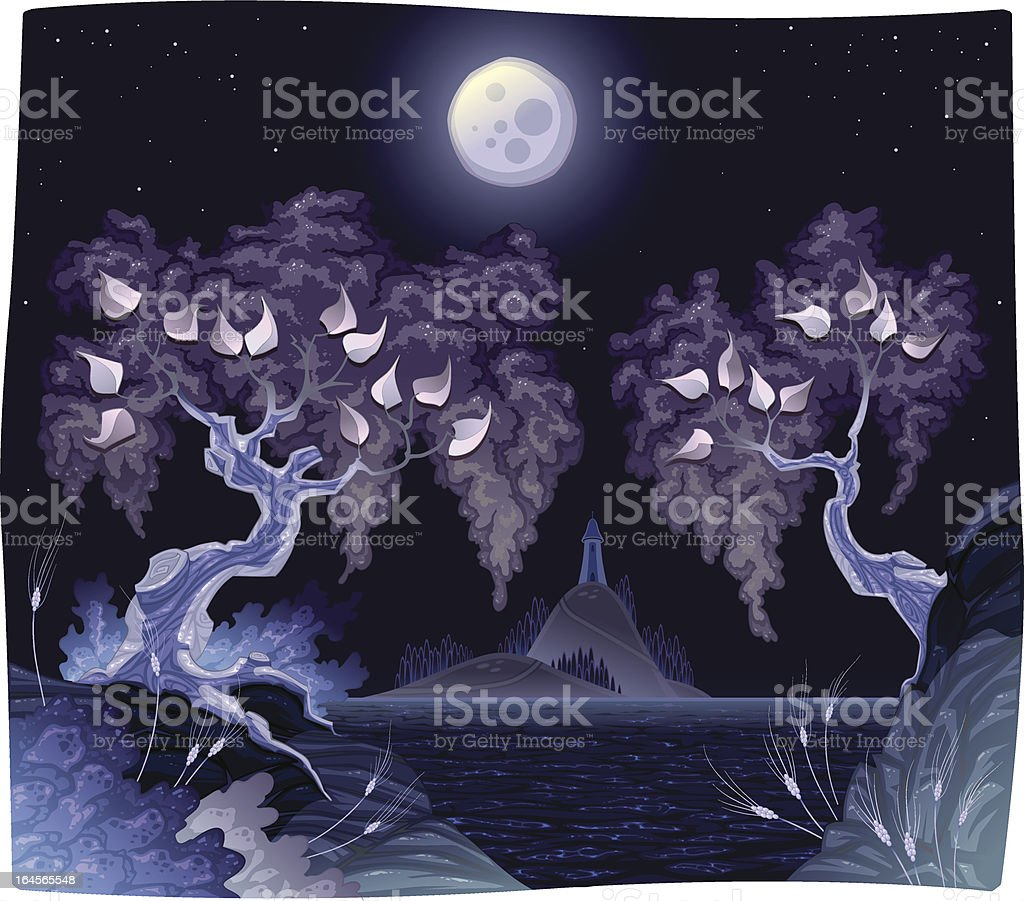 Romanitc landscape on sea in the night. royalty-free romanitc landscape on sea in the night stock vector art & more images of atmosphere