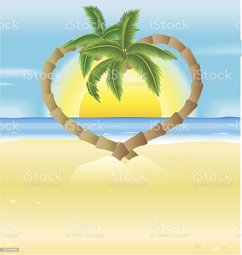 romantic beach, heart palm trees illustration - Royalty-free Backgrounds stock vector