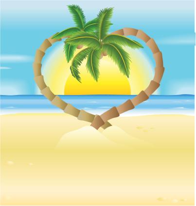 Romantic Beach Heart Palm Trees Illustration Stock Illustration - Download Image Now
