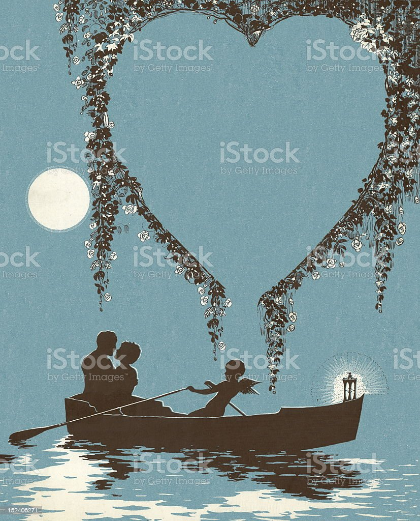 Romantic Boat Ride royalty-free stock vector art