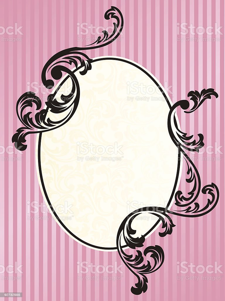 Romantic French retro frame in pink royalty-free stock vector art
