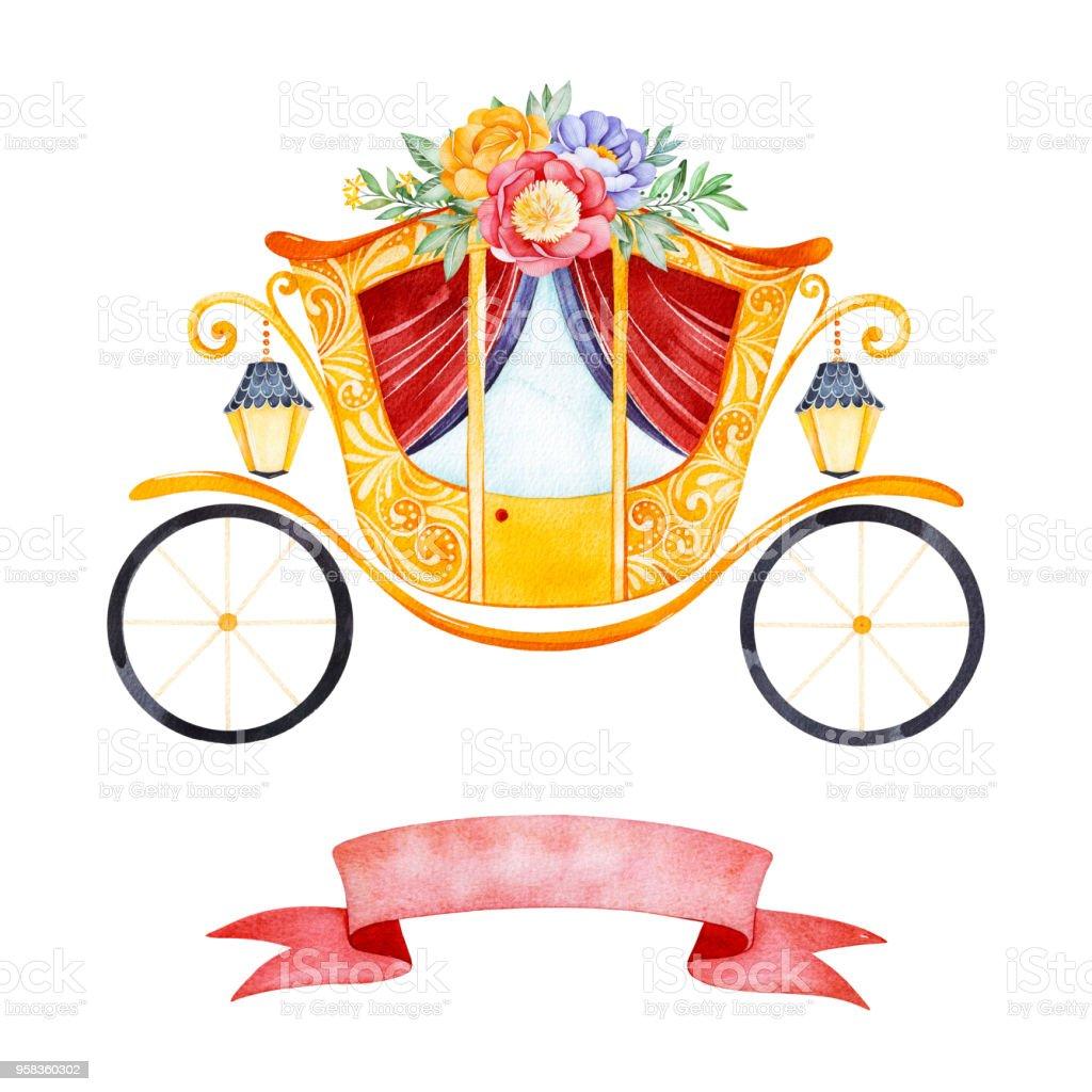 Illustration Romantique Avec Princesse Chariot Decore De Belles