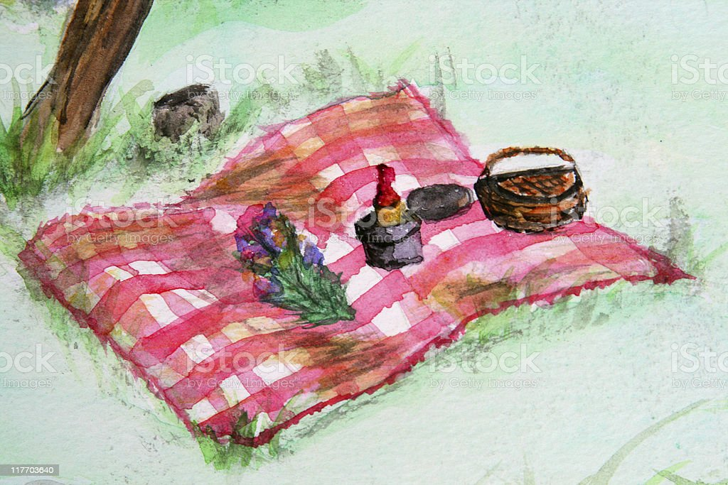 Romantic Picnic In the Park Watercolor vector art illustration