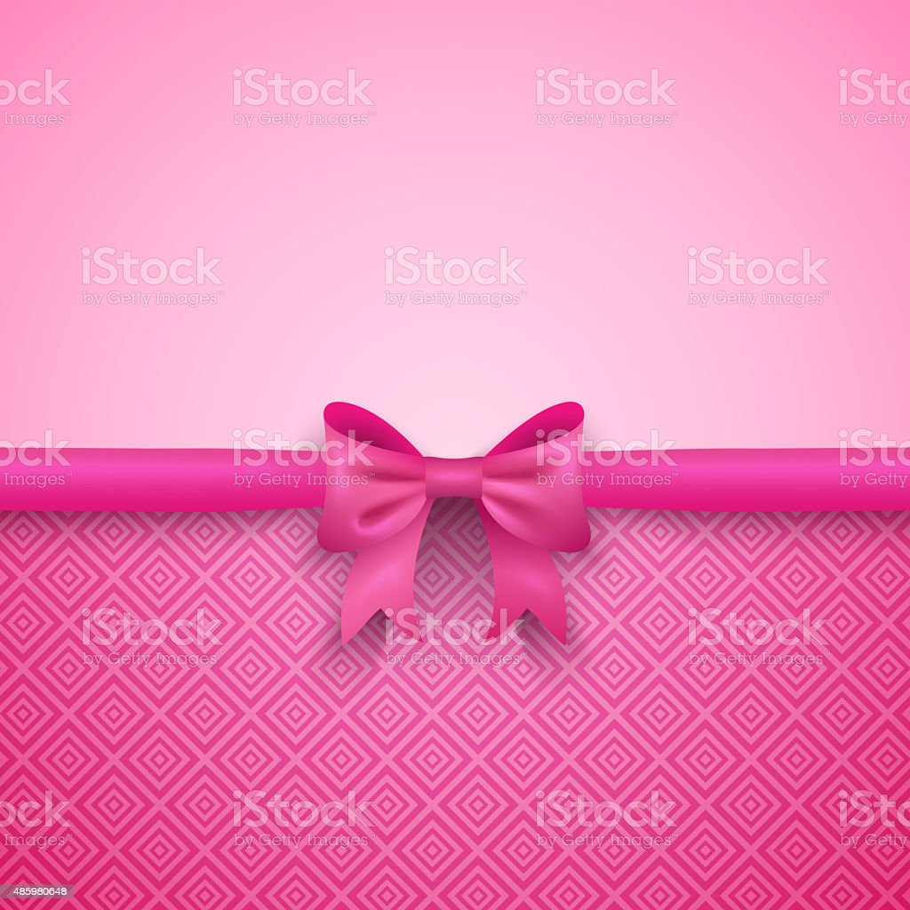 Romantic  pink background with cute bow and pattern vector art illustration