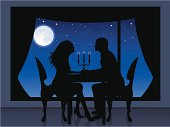 Silhouette of a couple having a romantic evening. On the background a view from window of full moon and stars.