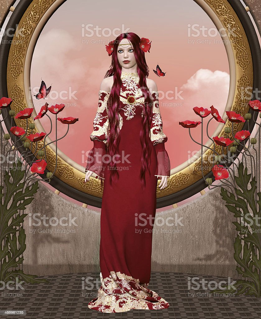 Romantic woman portrait vector art illustration