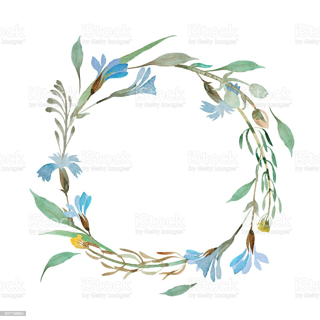 Romantic wreath of blue flowers painted in watercolor stock vector romantic wreath of blue flowers painted in watercolor royalty free romantic wreath of blue flowers izmirmasajfo Gallery
