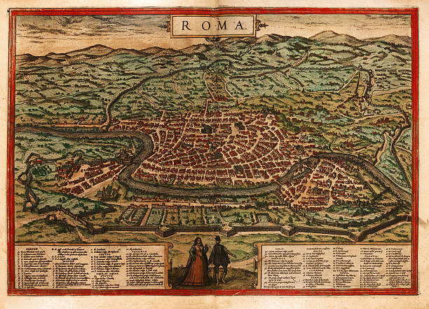 Rome Antique Map Close-up Medieval map of Rome in Italy , scanned from the originalSee more related images: ancient rome stock illustrations