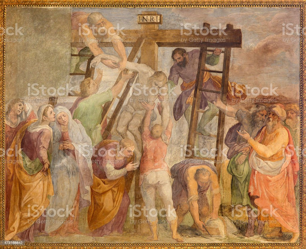 Rome - Deposition in church Chiesa San Marcello al Corso vector art illustration