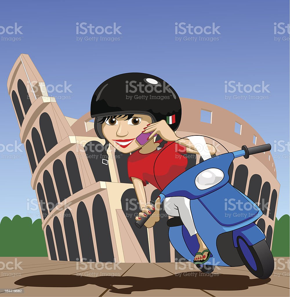 Scooter Girl on mobile phone while passing Colosseum Illustration : Istockphoto